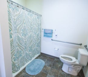 A model bathroom with toilet, blue rugs and towels, and a blue, white, and green shower curtain covering up a curbless entry shower for seniors.