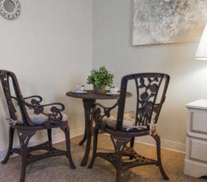 Brown dining table and chairs in corner of room with plant centerpiece and teacups with saucers.