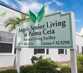 Signage outside Angels Senior Living at Palma Ceia including phone number and assisted living facility license.