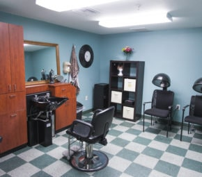 Green and white checkered floor and blue walls with a hair washing and two hair drying stations, plus wooden cabinets and drawers.