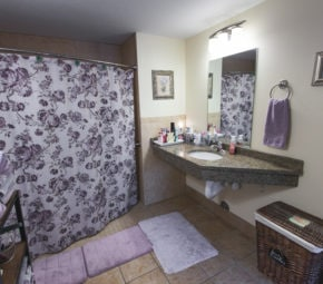 Model bathroom at our Land O' Lakes ALF with granite countertop, purple bathmats, towels, and decoration, and a purple and white floral shower curtain concealing a curbless shower entry for seniors.