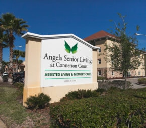 Welcome sign to our Land O' Lakes assisted living and memory care facility including license number.