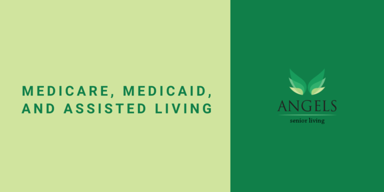 "Yellow background with text on left reading ""Medicare, Medicaid, and Assisted Living"" and green strip with logo on right"