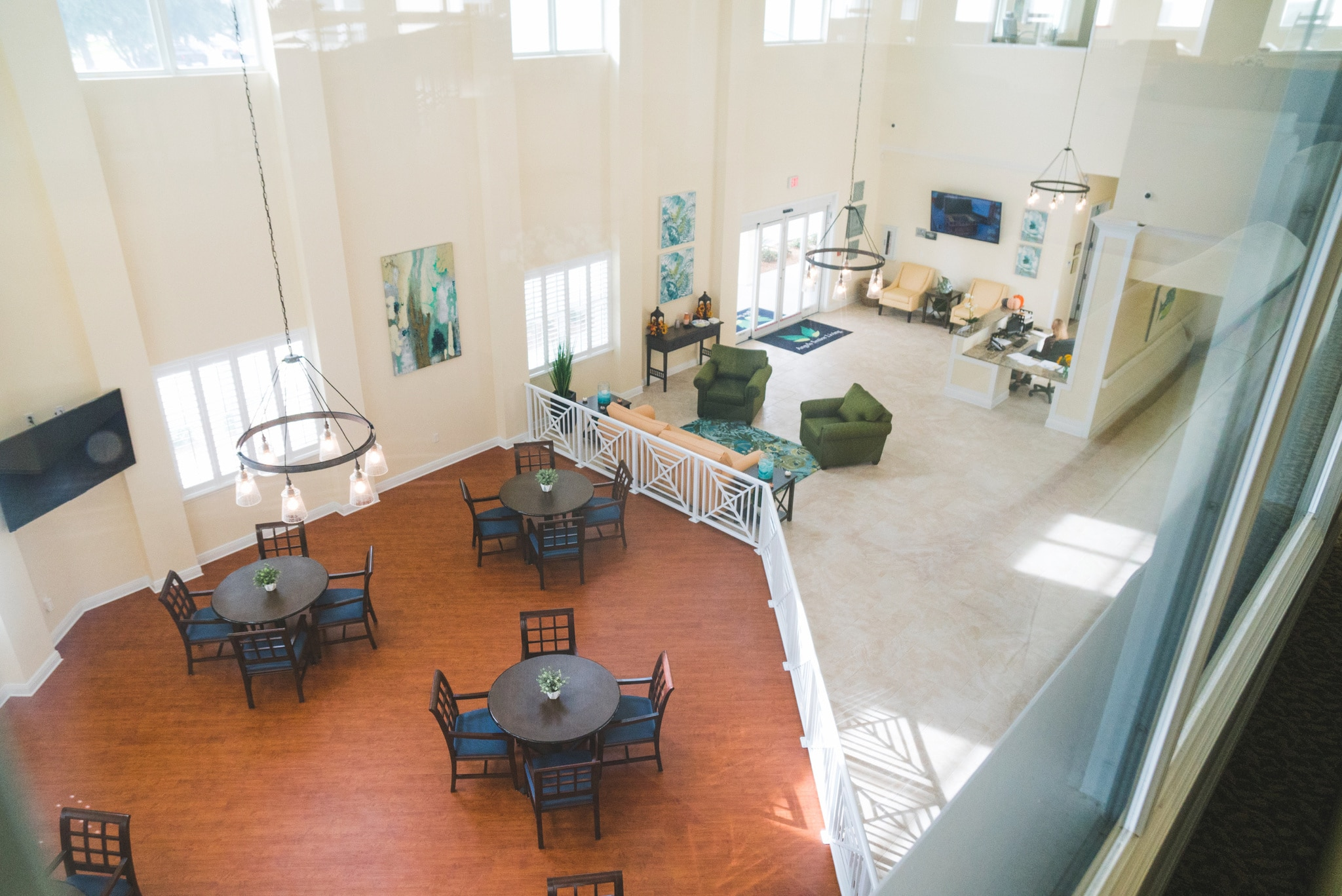 Our beautiful reception area offers visitors to our Sarasota assisted living facility a look into our luxurious community.