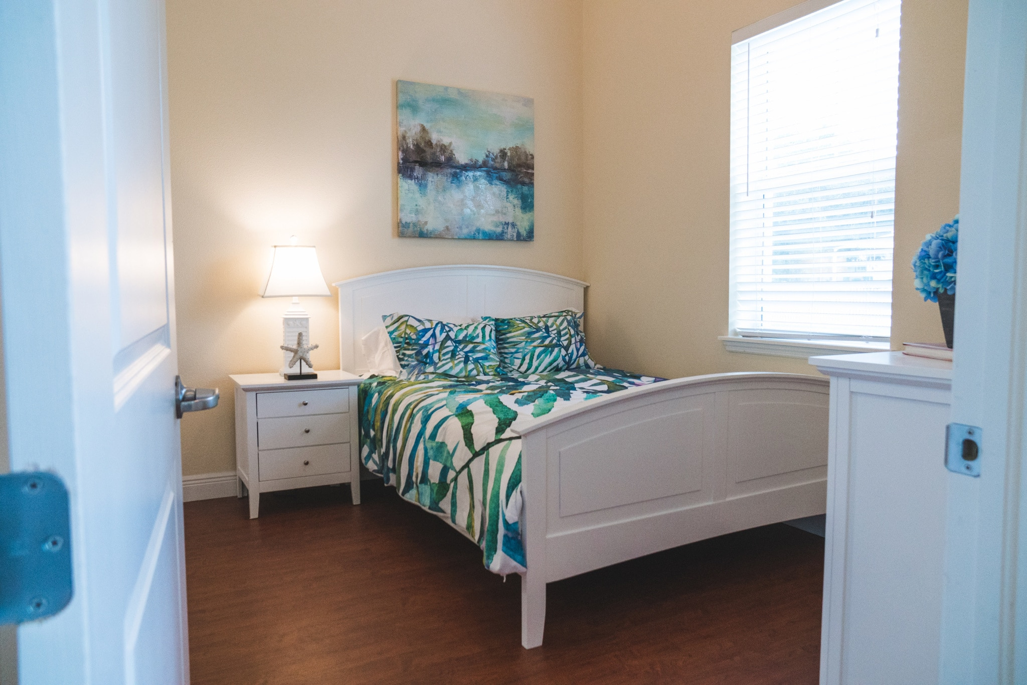 This model bedroom offers our assisted living residents an idea on how they can furnish their rooms to turn them into home.