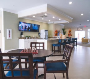 Residents can play chess, watch television, and enjoy themselves at our assisted living facility's bistro.