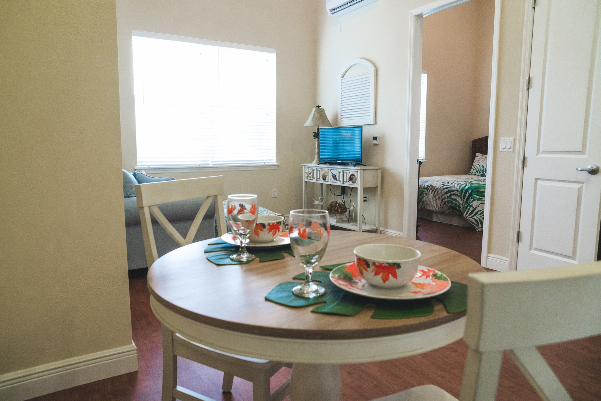 This model dining room helps potential residents see how they can decorate their apartments to their taste.