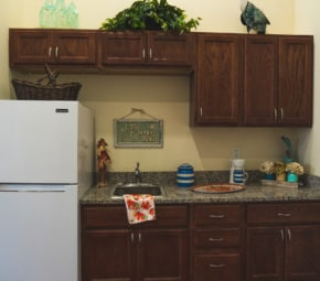 This kitchen model offers potential residents of Angels Senior Living at Sarasota a look into how they can customize their own living space.
