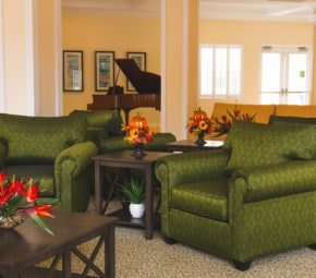 Our assisted living and memory care residents can enjoy themselves in comfort, play the piano, or entertain guests in our sitting area.