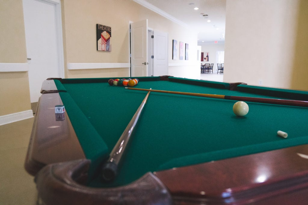Angels Senior Living at Sarasota offers residents a pool table to indulge in a