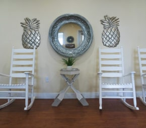 The rocking chairs at Angels Senior Living at Sarasota give residents a chance to unwind in rustic comfort.