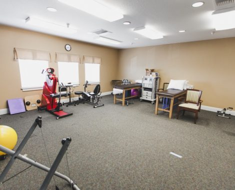 Gray carpeted room with brown walls including examination tables, chairs, medicine balls, resistance equipment, and machines for testing.